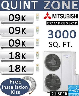 63000 BTU Quint Zone Ductless Mini Split AC - Heat Pump: 9000 x 3 + 18000 x 2