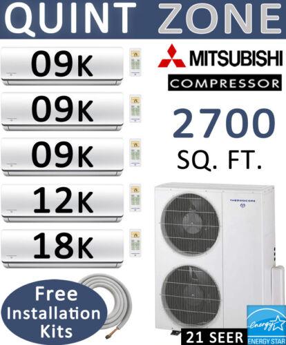 Quint Zone Ductless Mini Split Air Conditioner Heat 9000 X 3 + 12000 + 18000 Btu