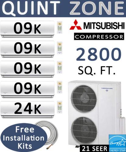 60000 Btu 5 Zone Ductless Mini Split Air Conditioner Heat Pump: 9000 X 4 + 24000