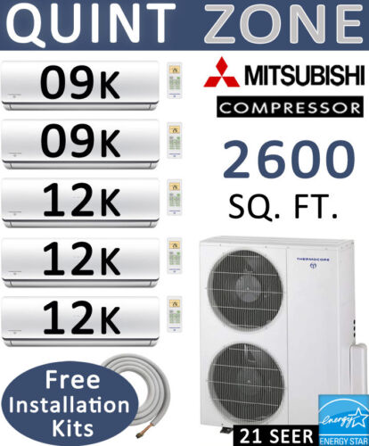 54000 Btu Ductless Mini Split Air Conditioner Heat, 9000 X2 + 12000 X3