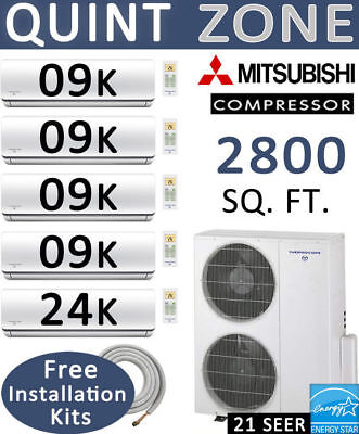 60000 BTU 5 Zone Ductless Mini Split Air Conditioner Heat Pump: 9000 x 4 + 24000