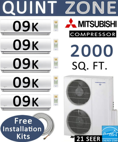 21 Seer: 5 Zone Ductless Mini Split Air Conditioner Heat Pump: 9000 Btu X 5