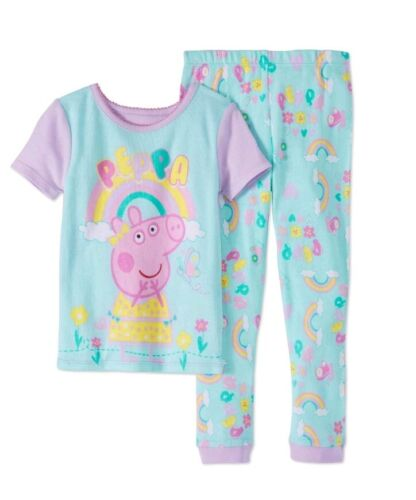 Peppa Pig Girls Short Sleeve Pants Pajamas, 2Pc Cotton Pj Se