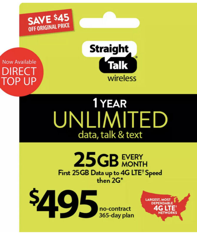 Straight Talk Refill Card $495 25GB LTE Unlimited 2G Talk,Data 1 Year Plan