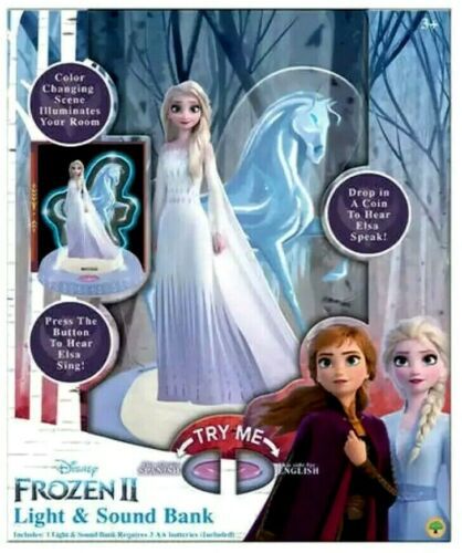 Disney Frozen 2 Elsa Figure + Lights Sound Music Songs Coin Bank Espanol English