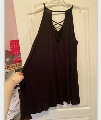 Boohoo Plus Size 20 Lace Up Black Tank Dress
