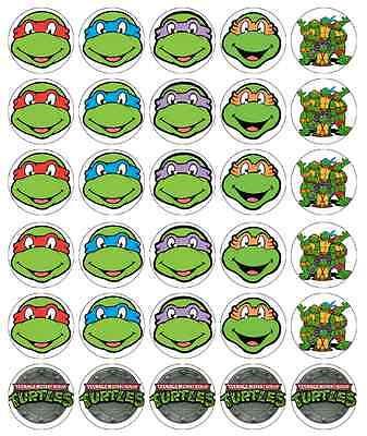 Teenage Mutant Ninja Turtles Cupcake Toppers Edible Paper BUY 2 GET 3RD FREE! (Edible Ninja Turtle Cupcake Toppers)