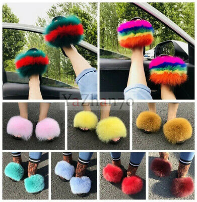 Real Fox Raccoon Fur Slides Fuzzy Furry Slippers Sliders Sandals Women's Shoes A](Furry Raccoon)