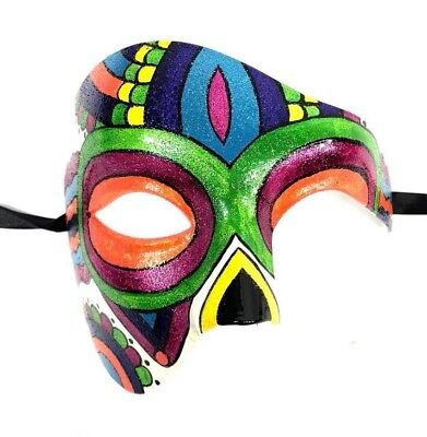 Half Dead Face Halloween (Rainbow Phantom Day of the Dead Glitter Mask Half Face Halloween Party Men)