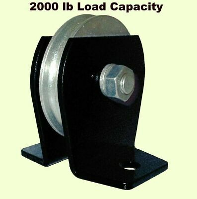 Flat Mount Wire Rope Pulley Block 2000 Lb Load Cap. Bolt-down Zinc Steel Plated