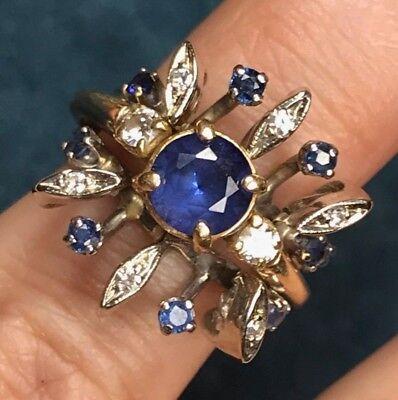 - 14K White Gold Sapphire & Diamond Halo Ring Enhancer Jacket Guard. 4.5g--K2L0J8