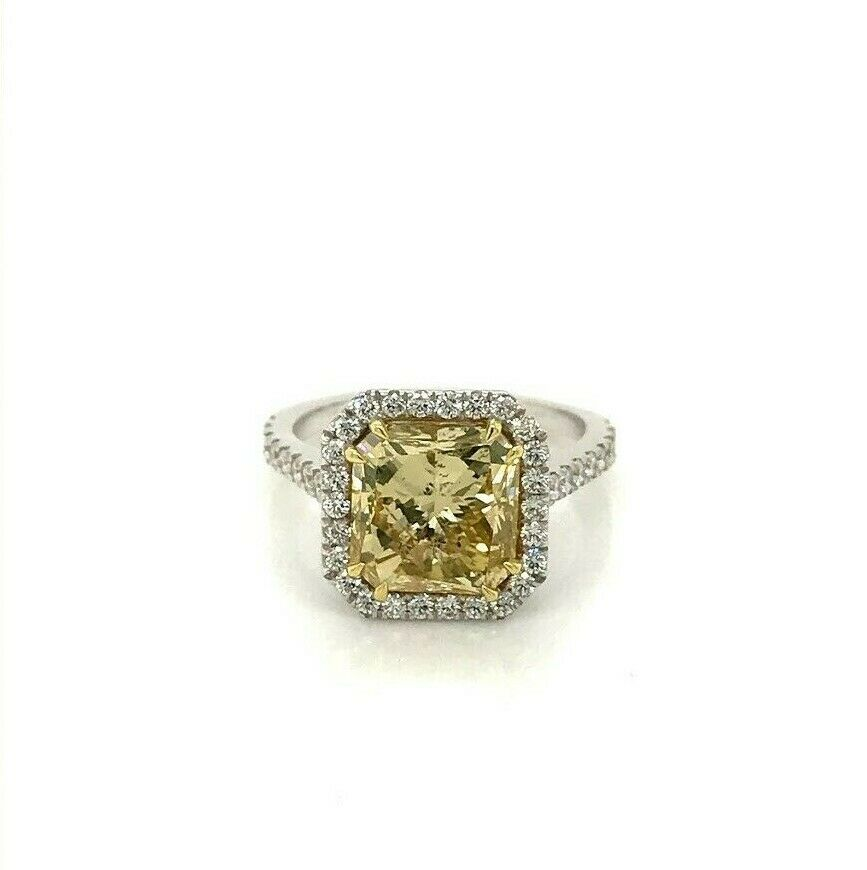 GIA Certified 4.04 Ct Fancy Yellow Square Diamond Engagement Ring 18k Gold 1