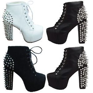 Womens-Spike-Studded-High-Cuban-Heels-Platform-Clog-Lace-Up-Punk-Ankle-Boot-Shoe