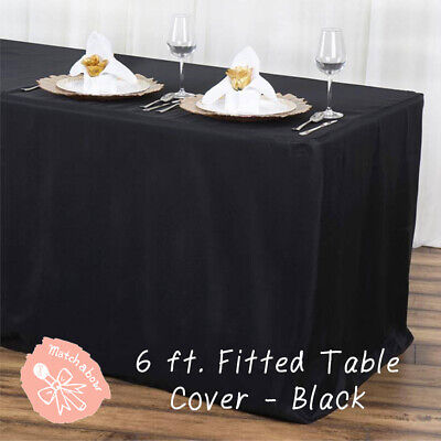 Black 6 Ft Fitted Table Cover Polyester Tablecloth Trade Show Booth Dj