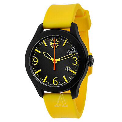 Brand New! ESQ Movado 7301432 Unisex One Yellow Silicone Black Dial Case Watch