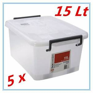 5 x 15Lt STORAGE TUB BOX CONTAINERS HEAVY DUTY ROLLER WHEEL LIDS Dandenong South Greater Dandenong Preview