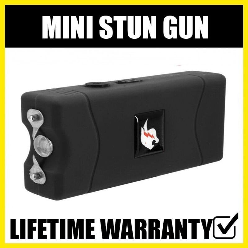 TACTICAL BLACK Mini Stun Gun 800 100 BV Rechargeable LED Flashlight