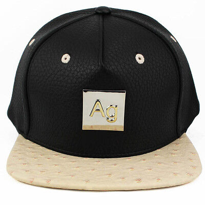 Agora Ostrich Leather Silver Snapback hat cap 5 panel NEW