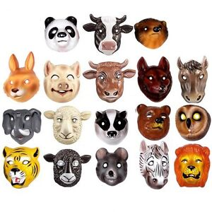 18 Animal Plastic Childrens Face Masks - Farm, Woodland & Wild Animals