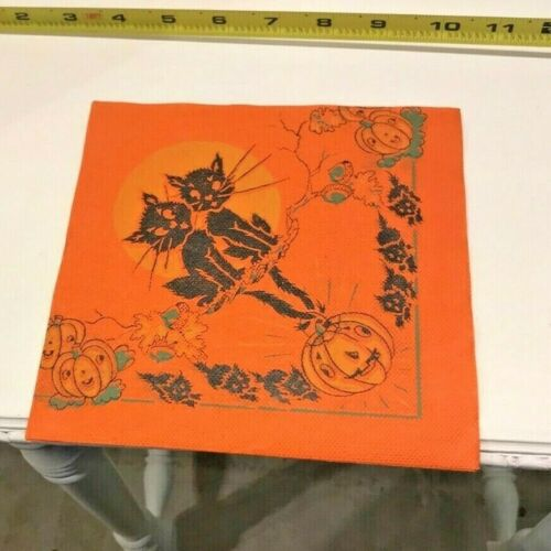 Vintage Two Adult Black Cats and Baby Black Cats with Pumpkins Napkin