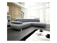 COMEZO Fabric L-shape Corner Sofa Bed Storage for bedding Sleep Function Grey Naroznik Kanapa Couch