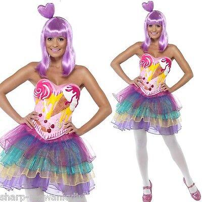 Damen Süßigkeiten Queen Katy Perry Music Promi Hen Kostüm Kleid Outfit