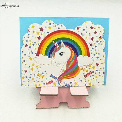 Cute Unicorn Rainbow Girls Birthday Party Invitations W/ Envelopes 6 pcs Kids - Cute Invitations
