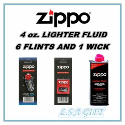 Zippo Lighters 4oz Fuel Fluid and 1 Flint & 1 Wick Value Pac