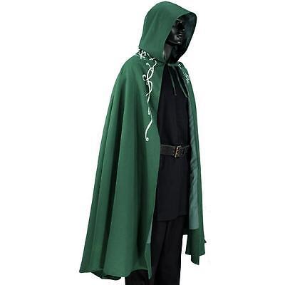 MEDIEVAL FANTASY VIKING ELVEN Men Women Green Black Brown HOODED CAPE CLOAK New - Brown Hooded Cloak