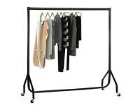 Garment Clothes Rail Super Heavy Duty All Metal Black On Wheels + Cover