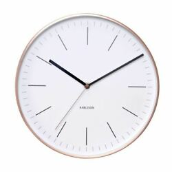 Wall Clock Minimal White Copper Case Designer Unique Modern Stylish Timepiece