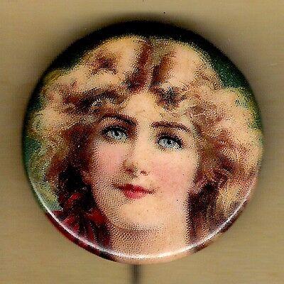 "Vintage Advertising Pinback Button Pin 1900's Tobacco Ad Premium ""Pretty Lady"" 2"