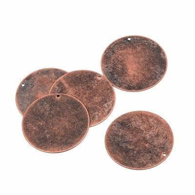 """10 Distressed Copper Stamping Blanks, Charms, LARGE CIRCLE DISC 1 3/8"""" msb0200"""