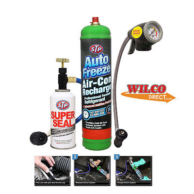 Car Air Con Top Up Kit Aircon charge Refill R-134a A/C With Gauge Super Seal STP