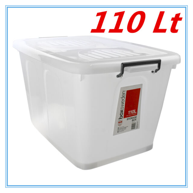 110Lt STORAGE TUB BOX CONTAINERS HEAVY DUTY ROLLER WHEEL LIDS CARRY HANDLES