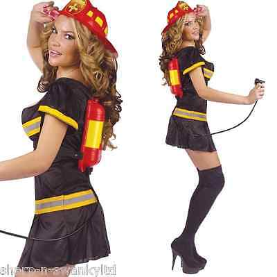 Damen Sexy Feuerwehrmann + Getränke Spender Kostüm Kleid Outfit (Feuerwehrmann Kostüme Damen)