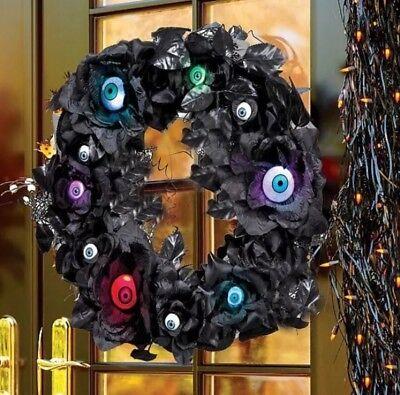 Halloween Wreath Door Hanger Lighted Eyeballs In Black Roses w/9 Flashing Eyes - Halloween Door Hanger