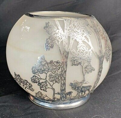 Silver Painted Vase Frosted Glass With Trees and Dear