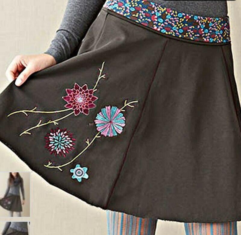 Womens Matilda Jane Paint by Numbers Brown Stellar Skirt XL *NEW*