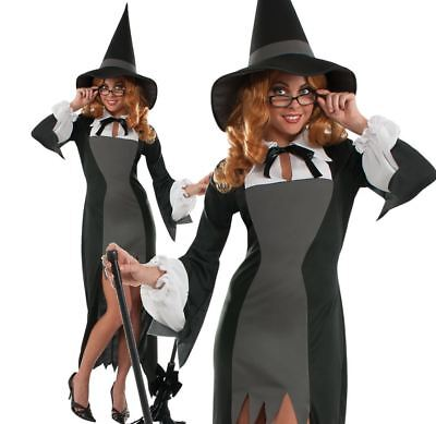 Ladies PURITAN SCHOOL WITCH Halloween Fancy Dress Costume Adult Clever Horror