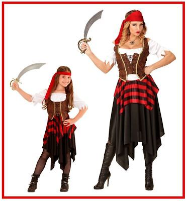 Piratin Damen Mädchen Pirat Seeräuberin Karibik Kostüm Karneval Fasching,(K)
