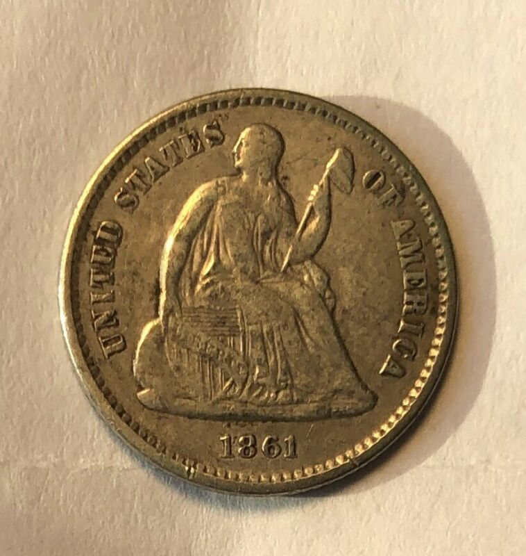 1861 Seated Half Dime XF EF