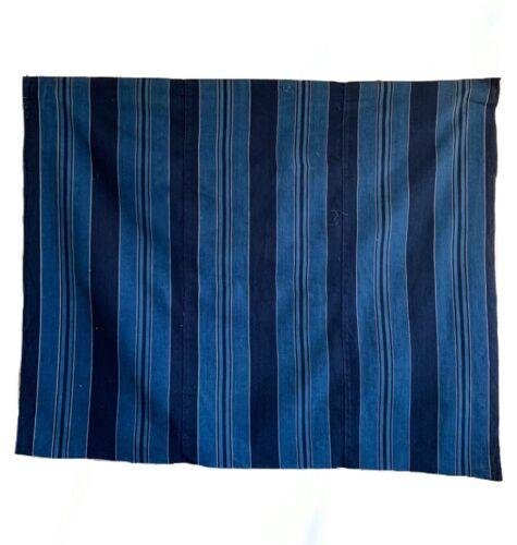 Beautiful 19th Century Japanese Cotton Indigo Woven Stripe (3093)