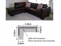 Fantastic L-shaped brown leather sofa for sale!