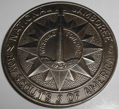 Vintage 1937 Washington DC national boy scout jamboree BSA coin America medal NR