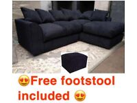 🚛FREE DELIVERY🚛BRAND NEW JUMBO CORD CORNER SET WITH FREE MATCHING FOOTSTOOL INCLUDED✅