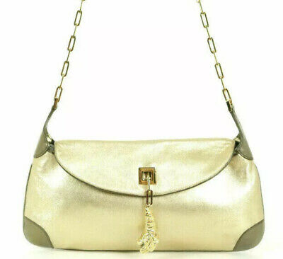 VINTAGE GUCCI TOM FORD Gold Leather Tigrt Head Charm Shoulder Clutch Purse RARE!
