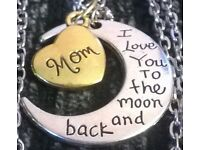 NEW MOM I Love You To The Moon And Back Necklaces With A Gift Bag £5 Each
