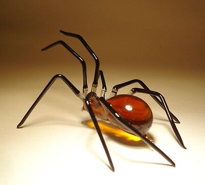 Blown Glass Figurine Art Insect Amber and Black SPIDER
