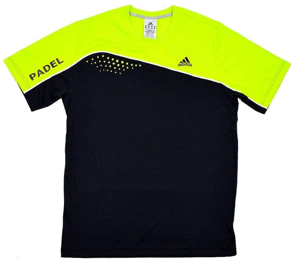 Adidas Herren Padel T-Shirt Tennis Laufshirt Funktionsshirt neon grün schwarz